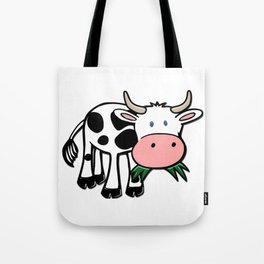 Black and White Steer Munching Grass Tote Bag