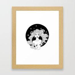 Girl Dark Unicorn Framed Art Print