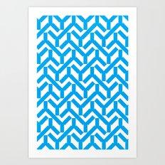 Cyan Geometry Pattern Art Print