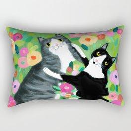 lovebirds CATS in flower garden painting by TASCHA Rectangular Pillow