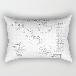 Making Tea Blueprint Rectangular Pillow