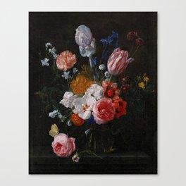 Nicolaes van Veerendael - A Bouquet of Flowers in a Crystal Vase (1662) Canvas Print