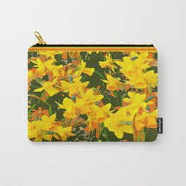Olive Green Golden Daffodils Garden Abstract Art Carry-All Pouch