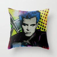 butcher billy Throw Pillows featuring BILLY  by AZZURRA DESIGNS