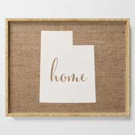 Utah is Home - White on Burlap Serving Tray
