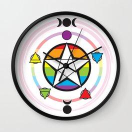 LGBT Elemental Pentagram Wall Clock