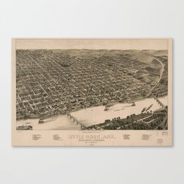 Perspective Map of Little Rock, Arkansas (1887) Canvas Print