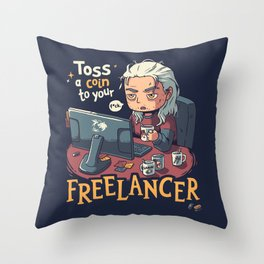 Toss a Coin to your Freelancer // Work from Home, Witcher Geralt Throw Pillow