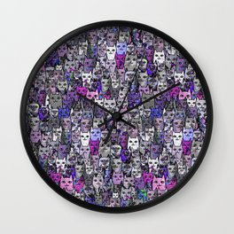 Ultraviolet Gemstone Cats Wall Clock