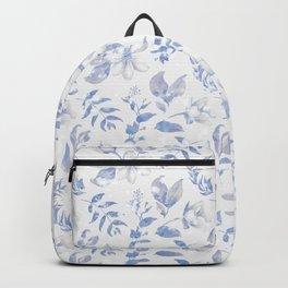 Pastel blue ivory watercolor glitter elegant floral  Backpack