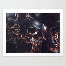 Black Gold Skull Art Print