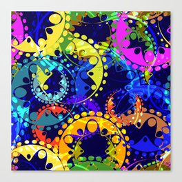 Texture of bright colorful and blue gears and laurel wreaths in kaleidoscope style on a dark blue ba Canvas Print