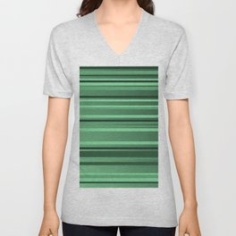 Stripes small only green Unisex V-Neck