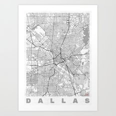 Dallas Map Line Art Print