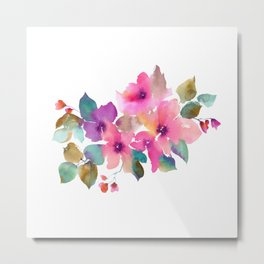 Lovely pink flowers. Watercolor florals Metal Print