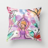 yoga Throw Pillows featuring Yoga by SannArt