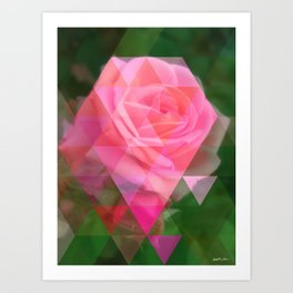 Pink Roses in Anzures 2 Art Triangles 1 Art Print