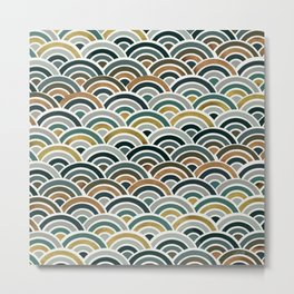 Japanese Seigaiha Wave – Teal & Bronze Palette Metal Print