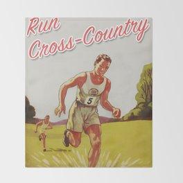 Run Cross-Country Vintage Art Print Throw Blanket