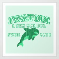 iwatobi Art Prints featuring Iwatobi - Orca by drawn4fans