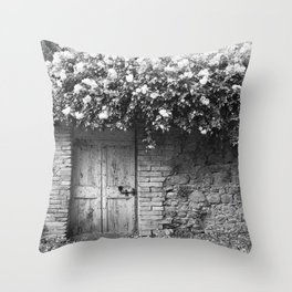 Old Italian wall overgrown with roses Throw Pillow