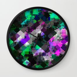 psychedelic square pixel pattern abstract background in green pink blue Wall Clock