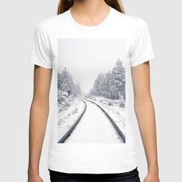 Snowy Train Tracks (Color) T-shirt