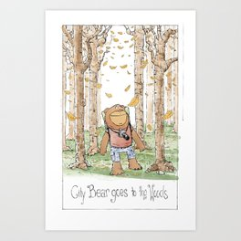 City Bear Goes to the Woods Art Print