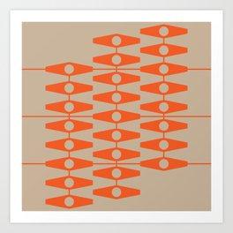abstract eyes pattern orange tan Art Print