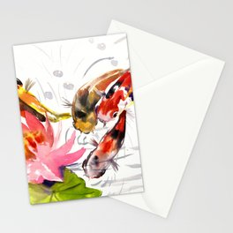 Koi Pond, feng shui koi fish art, design Stationery Cards