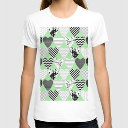 Hearts On Pastel Green - Abstract, black and white, geometric T-shirt