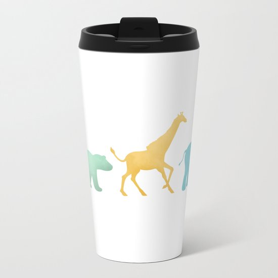 Baby Animal Silhouettes Metal Travel Mug