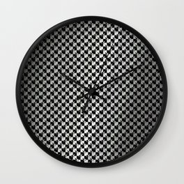 Black and Silver Gray Ghost Checkerboard Weimaraner Wall Clock