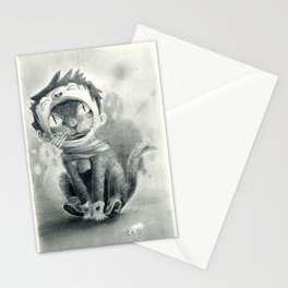 Cat with Boy Hat Stationery Cards