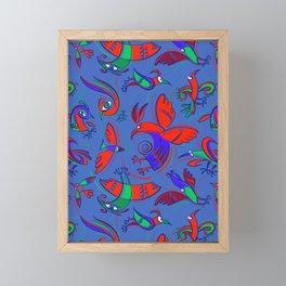 Pattern with Firebirds (on blue background) Framed Mini Art Print