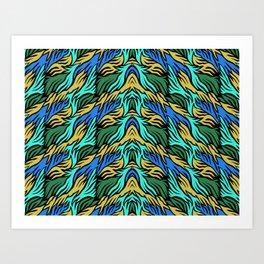 Green camouflage zebra pattern design Art Print