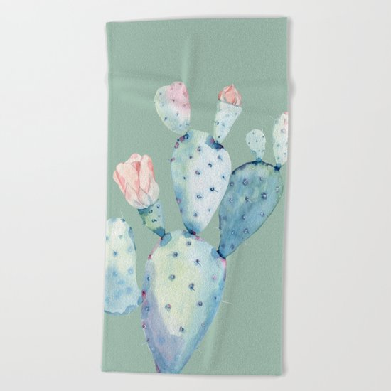 Rose Desert Cactus Mint Green Beach Towel