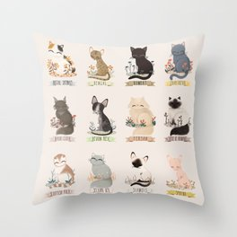Cats Breed Throw Pillow