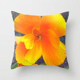 poppy orange Throw Pillow