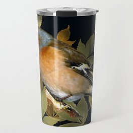 male chaffinch on black, vintage style Travel Mug
