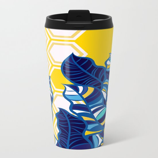 Geo Pop Foliage on Yellow & White Metal Travel Mug