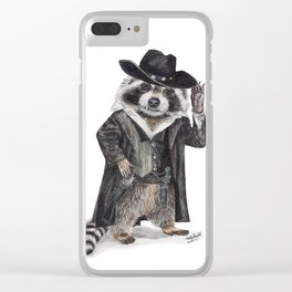""" Raccoon Bandit "" funny western raccoon Clear iPhone Case"