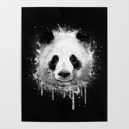 Cool Abstract Graffiti Watercolor Panda Portrait in Black & White  Poster