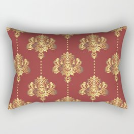 Gold damask flowers and pearls on red background Rectangular Pillow