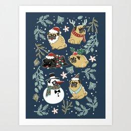 Christmas Pugs Art Print