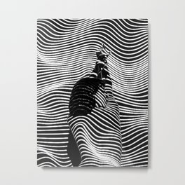 Minimalist Abstract Modern Ripple Lines Projected Woman Sensual Cool Feminine Black and White Photo Metal Print