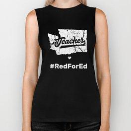 Washington Teachers Red For Ed Public Education Biker Tank