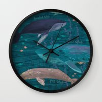 whales Wall Clocks featuring Whales by Stephanie Fizer Coleman