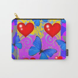 Red Hearts Valentines & Blue Butterflies Art Patterns Carry-All Pouch