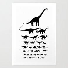 Dinosaur Eye Chart (monochrome) Art Print